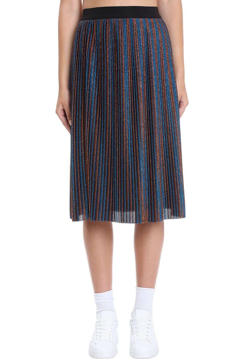 Amber Skirt in blue polyamide, elastic waist, lurex effect, stripes motif, 100% cotton, model is 180 cm and wears size 40Composition: Polyamide