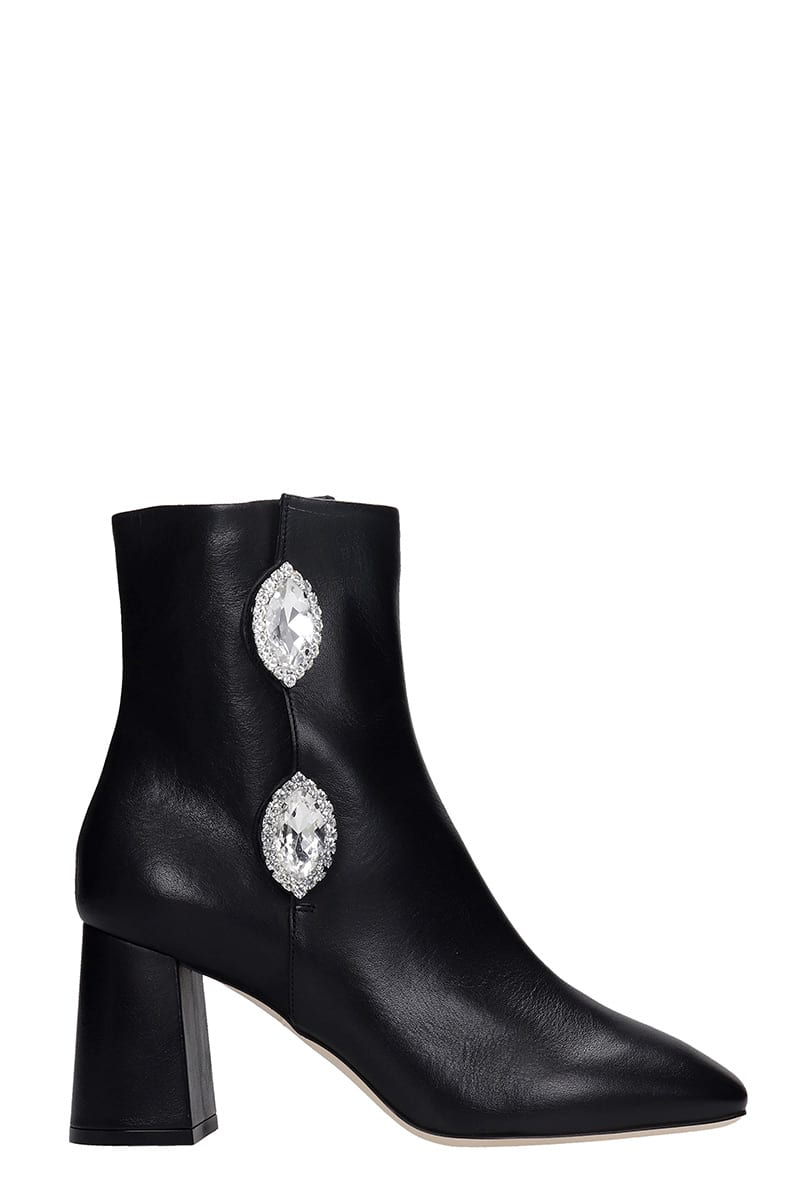 Giannico JULIE HIGH HEELS ANKLE BOOTS IN BLACK LEATHER
