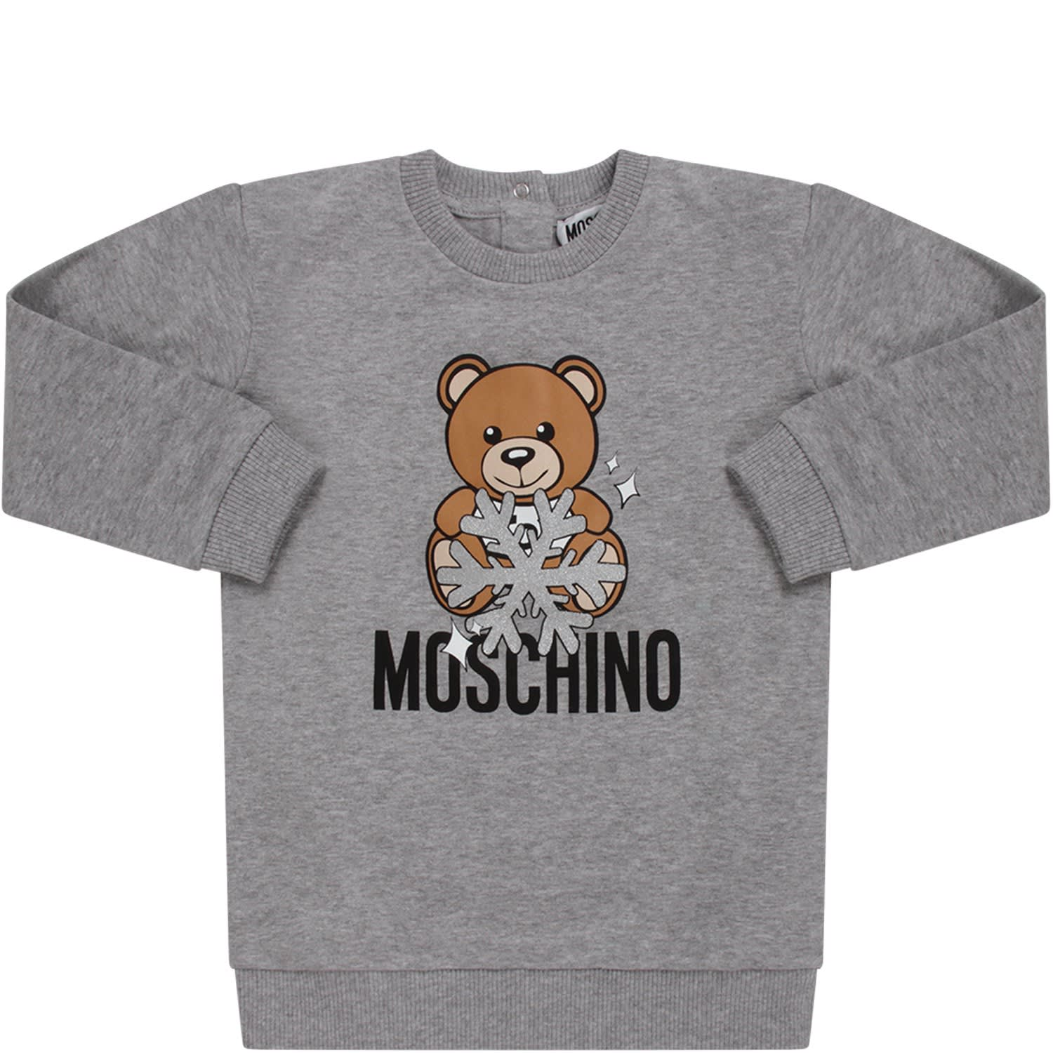 Moschino Grey Babygir Dress With Teddy Bear And Snowflak