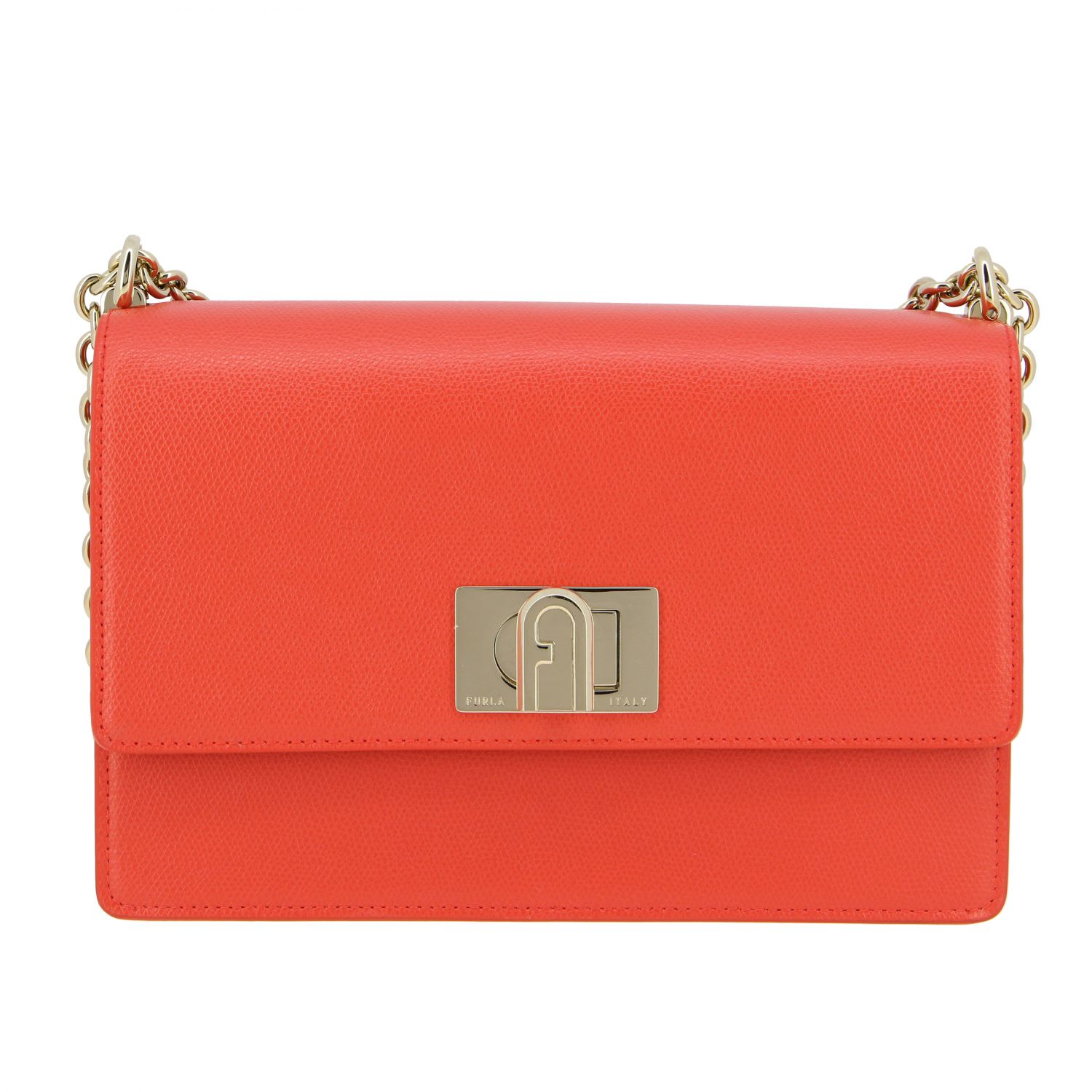 Furla 1927 Shoulder Bag In Textured Leather In Red