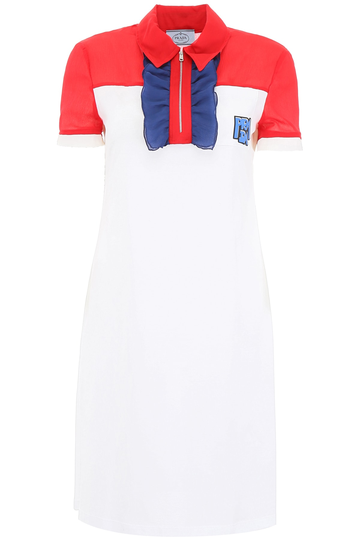 Prada Dress With Ruffles And Logo Patch