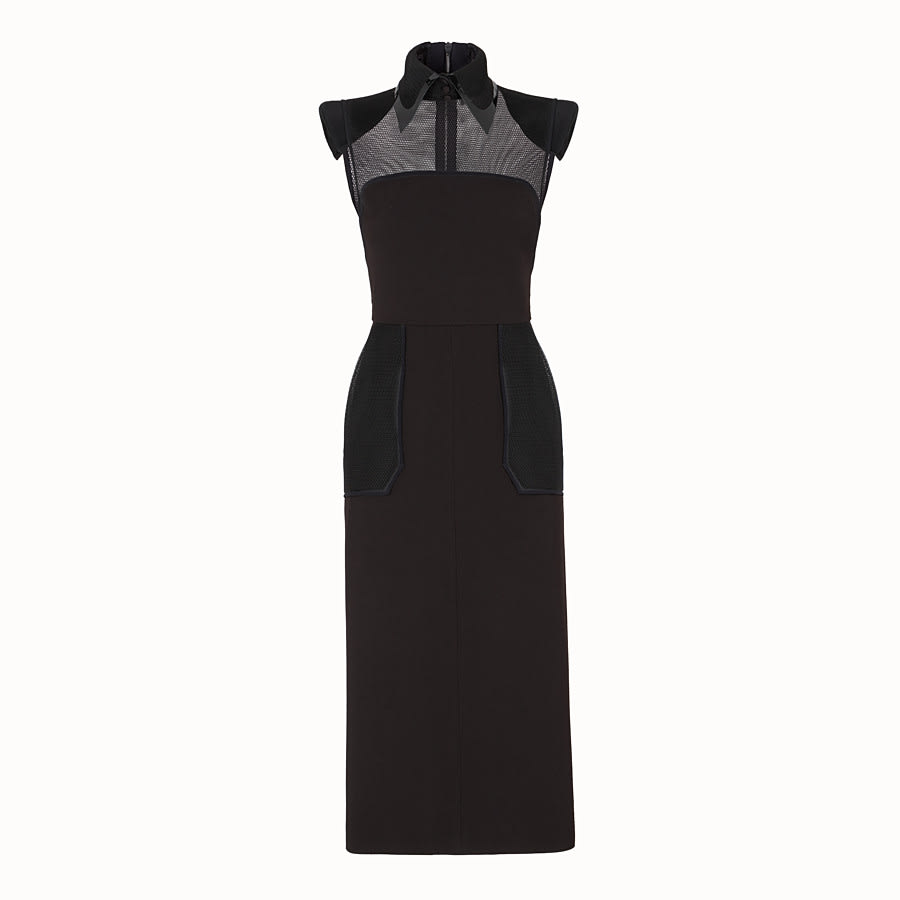 Fendi Long Gabardine Mesh Dress