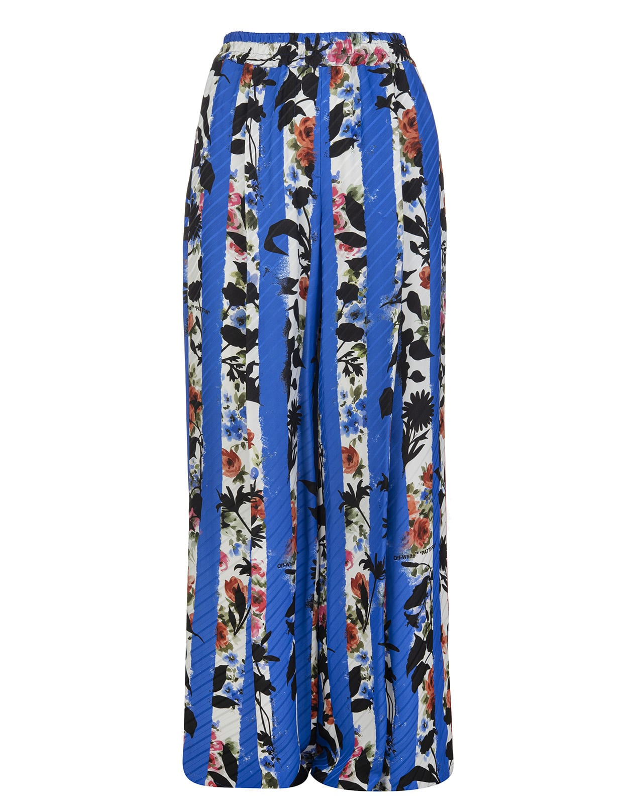 Off-White Clothing WOMAN FLORAL STRIPED BLUE PALAZZO TROUSERS