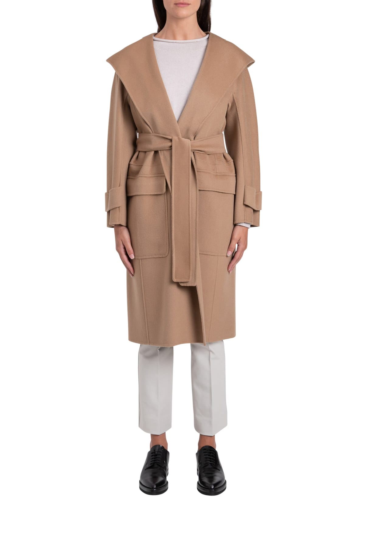 S Max Mara Here is The Cube Teresa Cappotto Con Cappuccio In Lana Vergine 100%