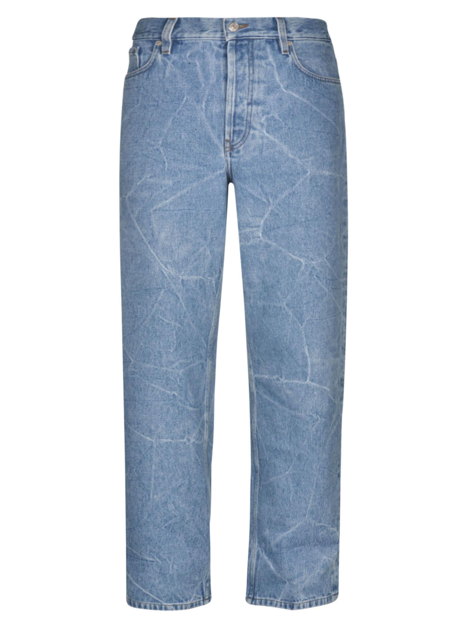 Dries Van Noten Crack Effect Jeans In Blue