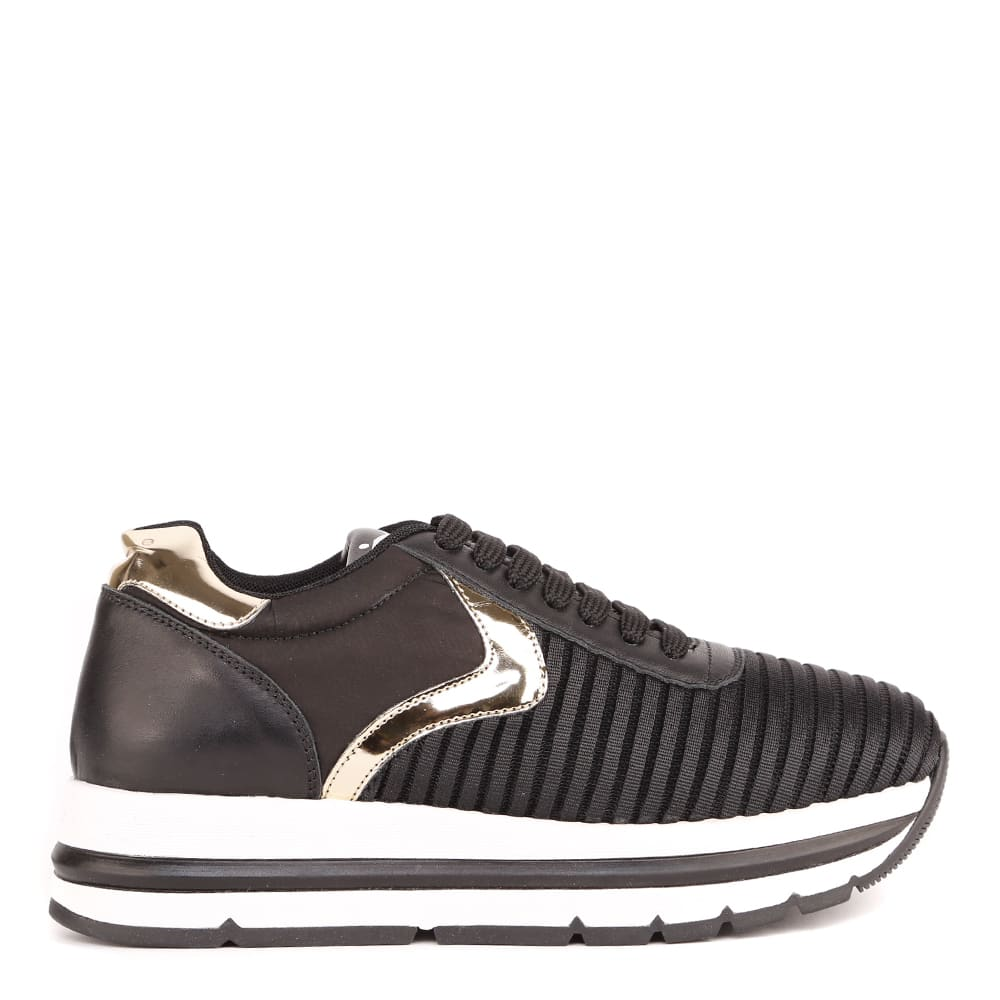 Voile Blanche BLACK AND GOLD APRILLE EASY SNEAKERS IN TECHNICAL FABRIC AND LEATHER