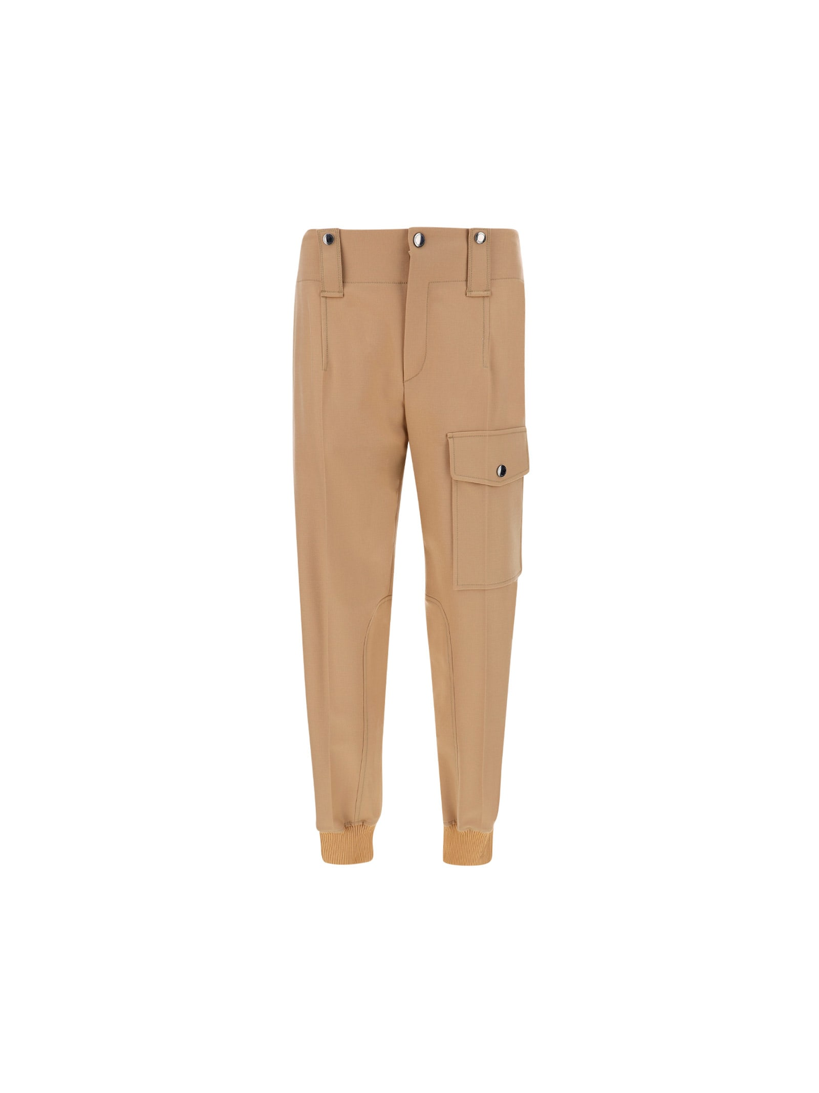 Beige Wool Pants by Chloé, button and zip closure on front, pinces on front, button pockets on front, cargo fit, cuffs on bottom, brand logo inside label. Composition: 100% Wool