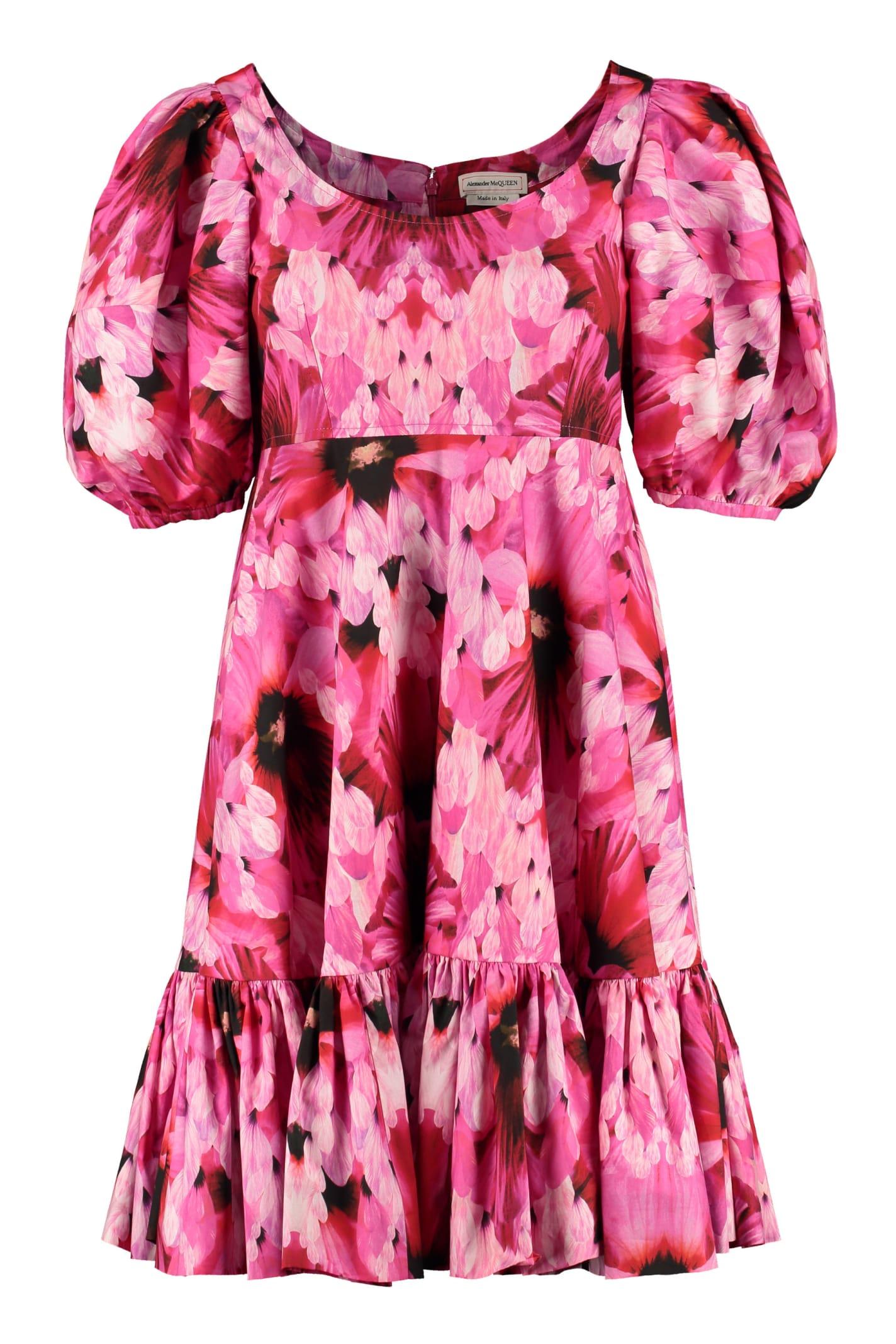 Buy Alexander McQueen Floral Poplin Dress online, shop Alexander McQueen with free shipping