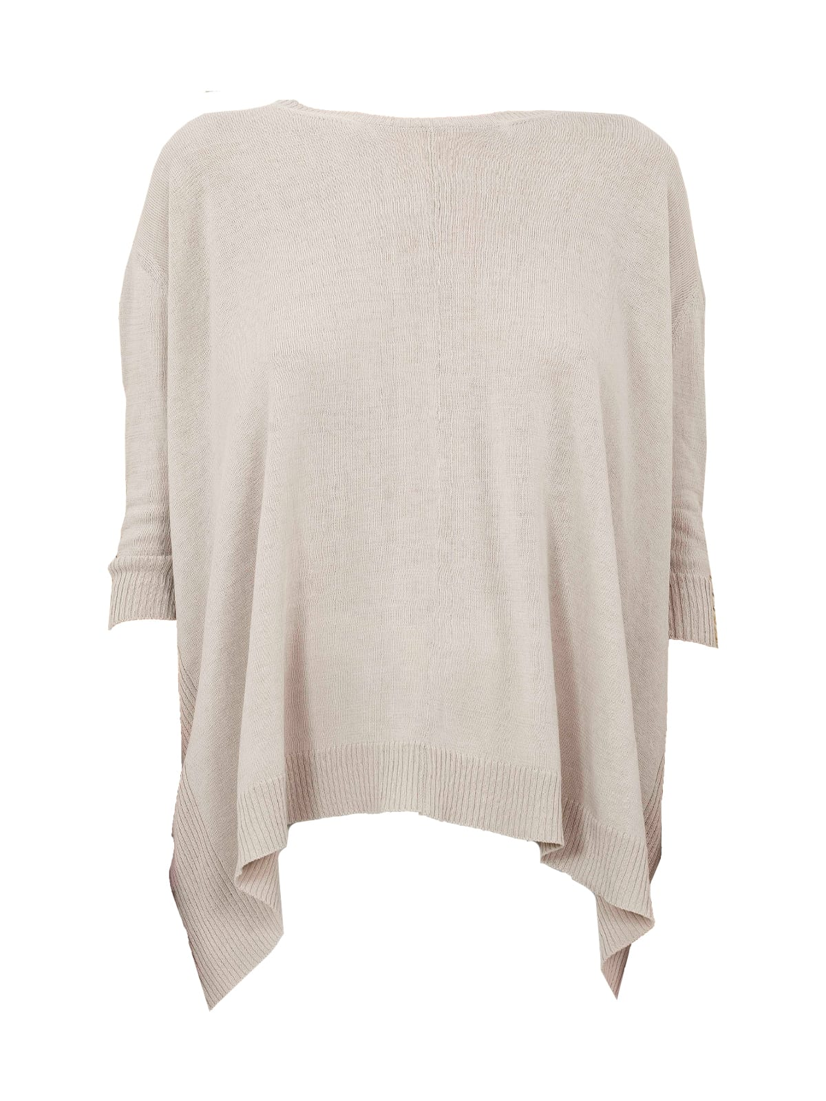 A Shape Cotton Crew Neck 3/4s Sweater