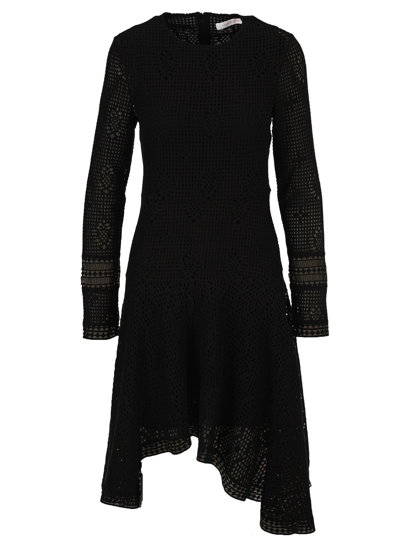 See By Chloe Wavy Long-sleeve Dress