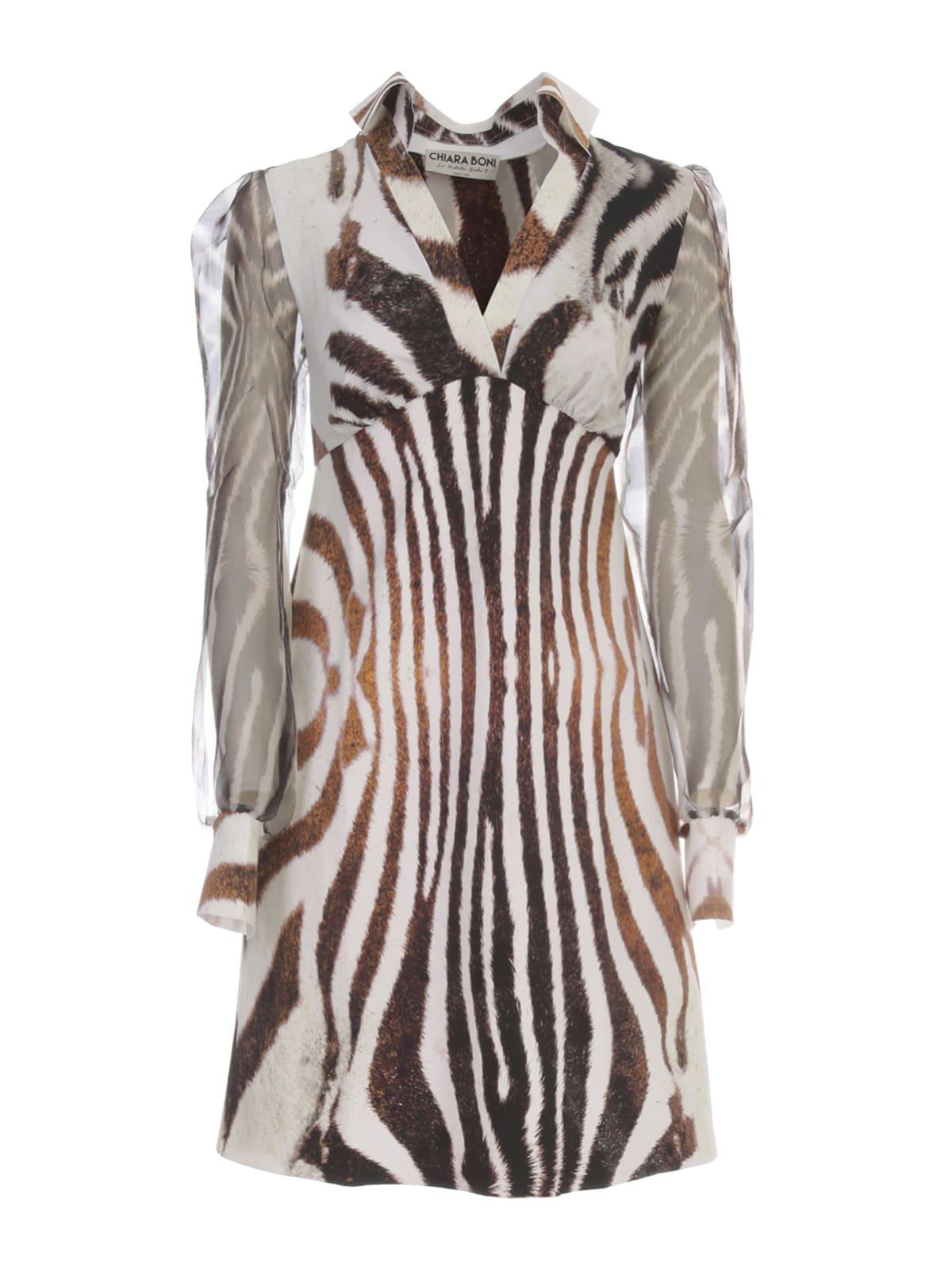 La Petit Robe Di Chiara Boni Printed Dress Voille Sleeve V Neck