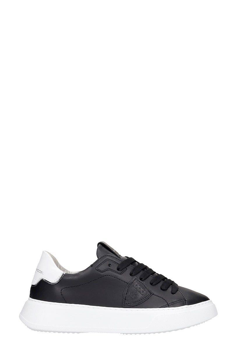 Philippe Model Leathers TEMPLE L SNEAKERS IN BLACK LEATHER