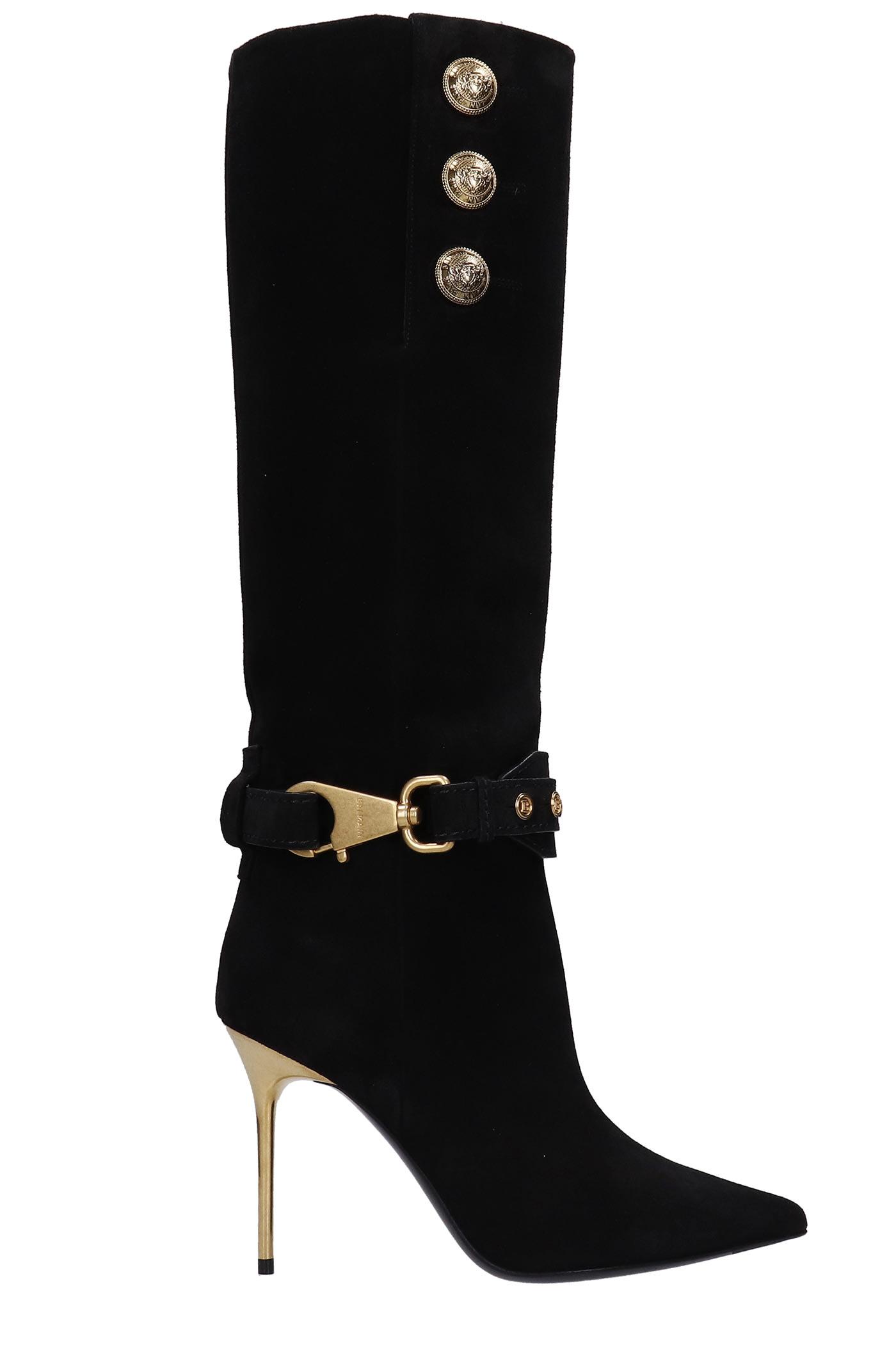 Buy Balmain Robin High Heels Boots In Black Suede online, shop Balmain shoes with free shipping