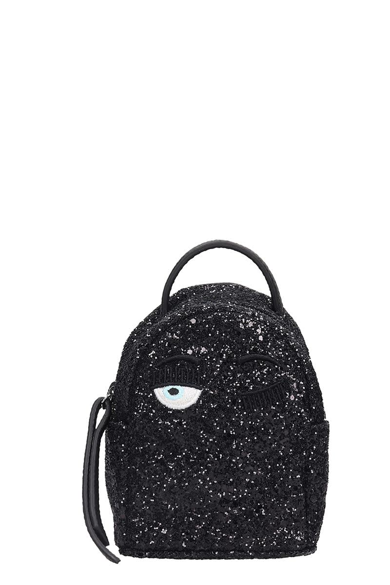 Chiara Ferragni Backpacks BACKPACK IN BLACK GLITTER
