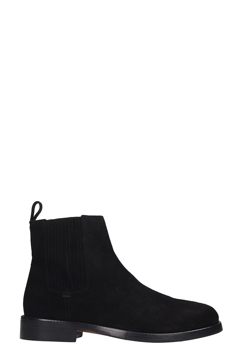 Royal Republiq Bond Chelsea High Heels Ankle Boots In Black Suede