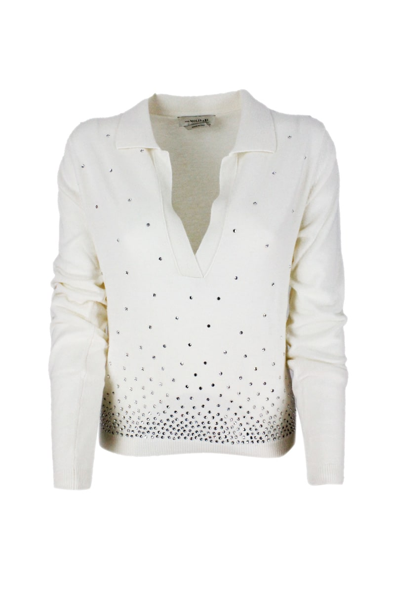 Light Long-sleeved Polo Shirt In Wool Blend With Collar With Bright Rhinestone Applications