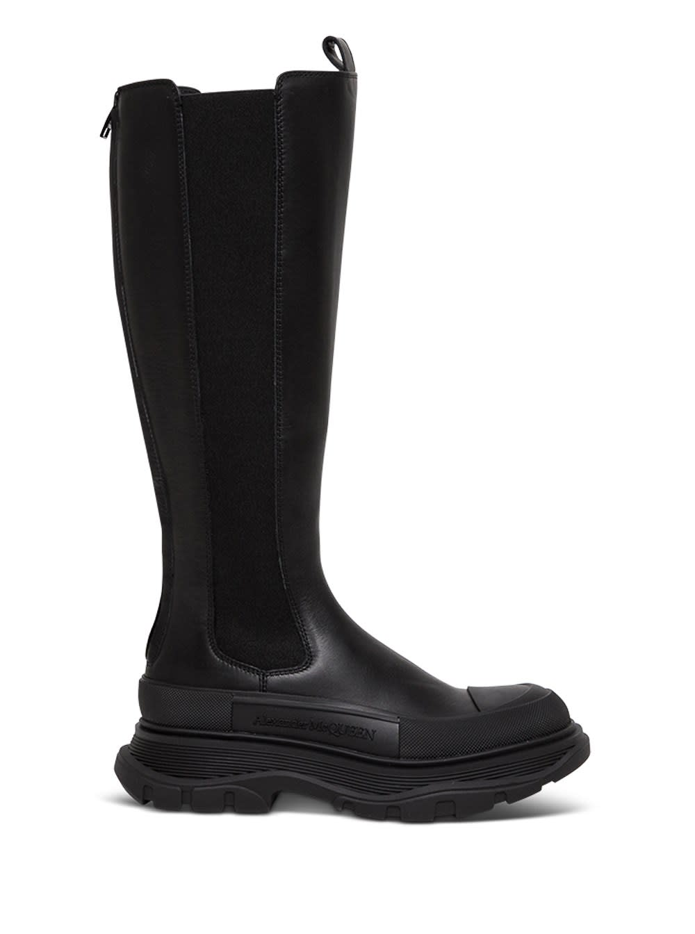 Buy Alexander McQueen Tread Slick Boots In Black Leather online, shop Alexander McQueen shoes with free shipping