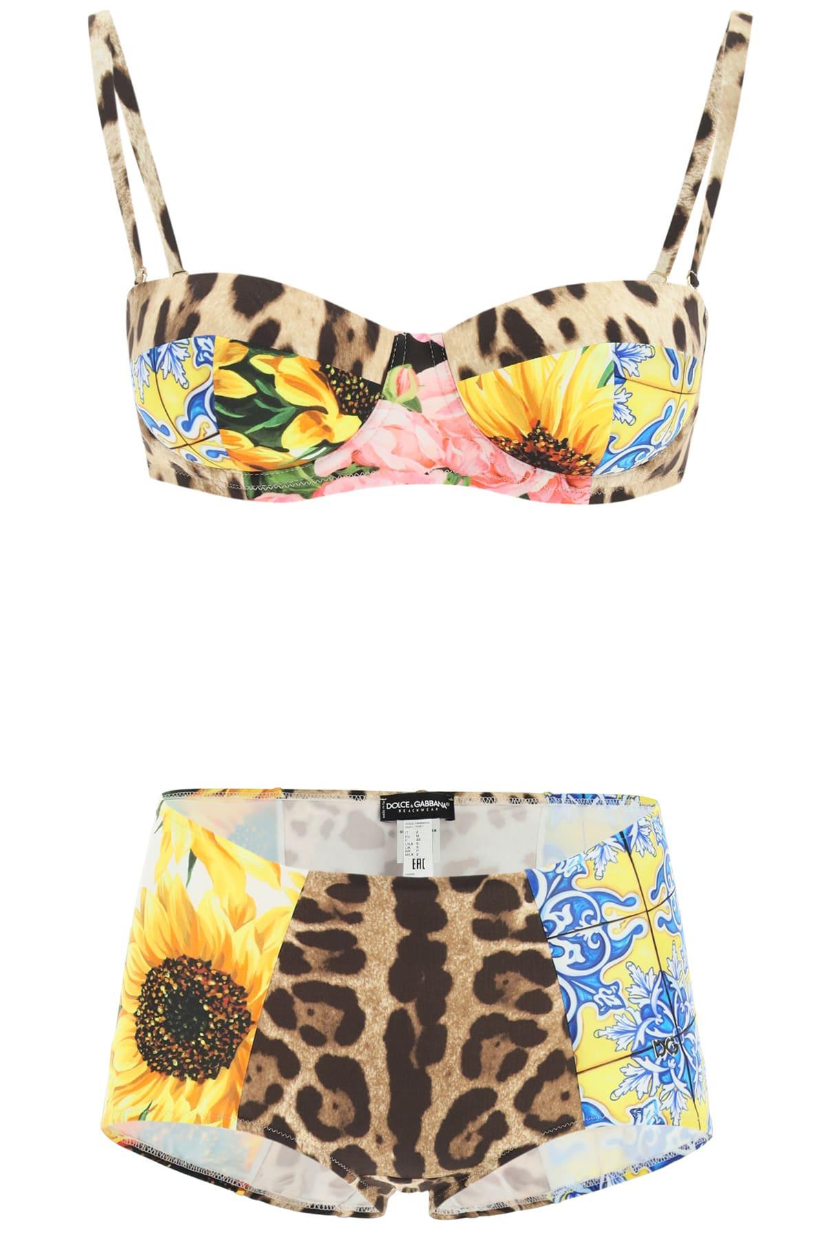 Dolce & Gabbana Bikinis PATCHWORK PRINT BALCONETTE BIKINI