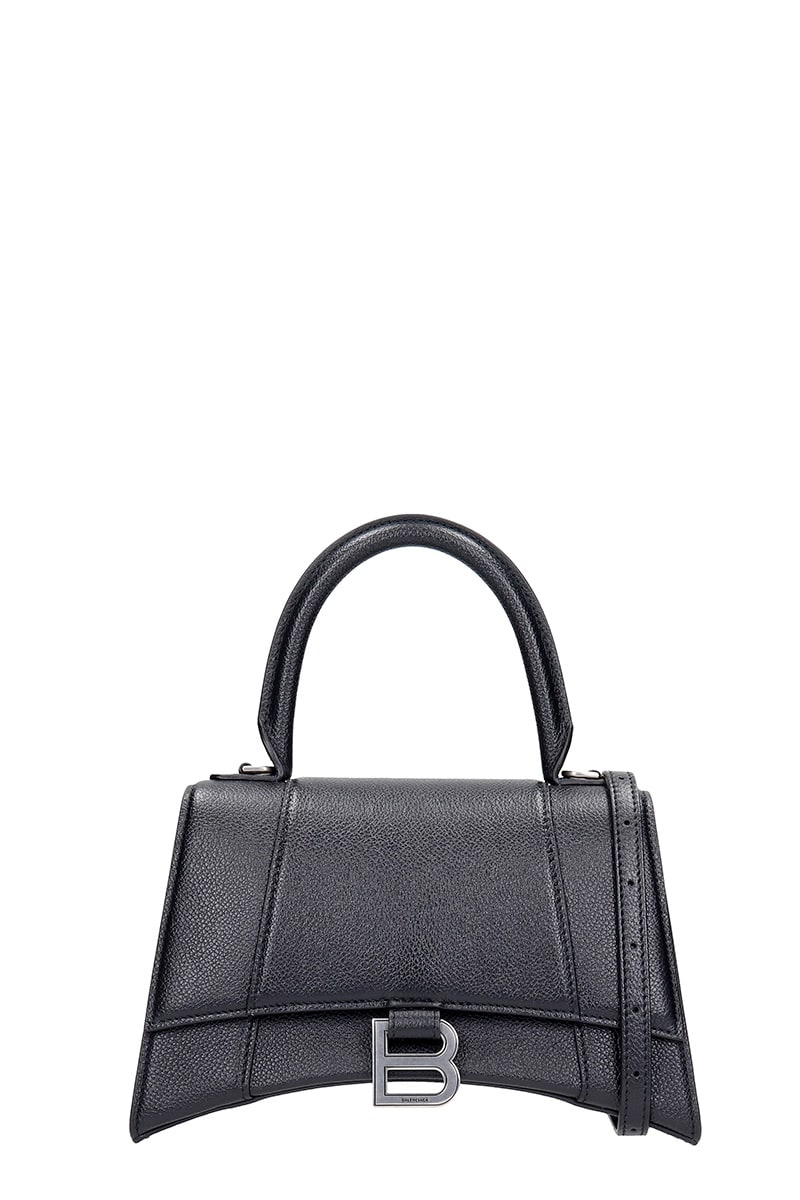 Balenciaga Hourglass Small Hand Bag In Black Leather