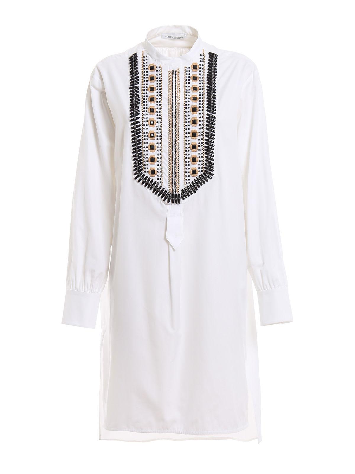 Alberta Ferretti Beaded Shirt Dress