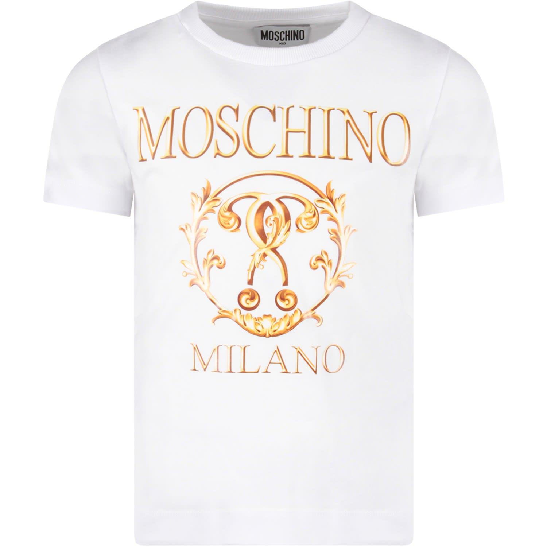 9c7920c79afd0 Moschino Moschino White Girl T-shirt With Gold ''moschino Milano ...