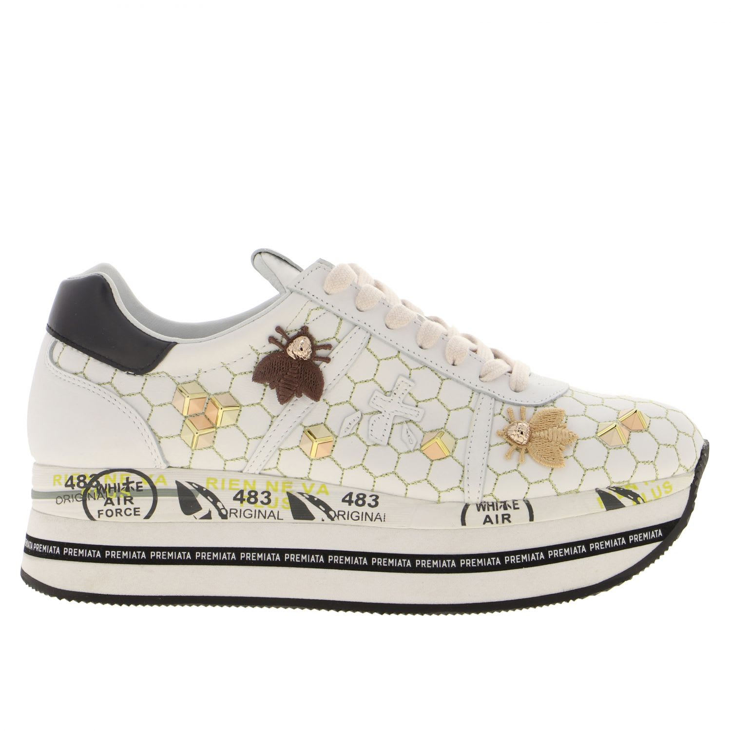 Premiata Platforms SNEAKERS IN LEATHER WITH APPLICATIONS AND EMBROIDERY