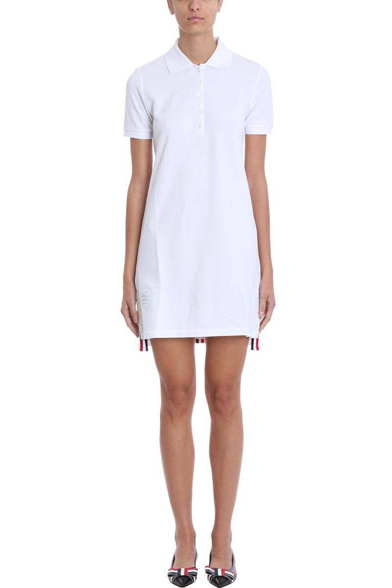 Thom Browne White Cotton Polo Dress