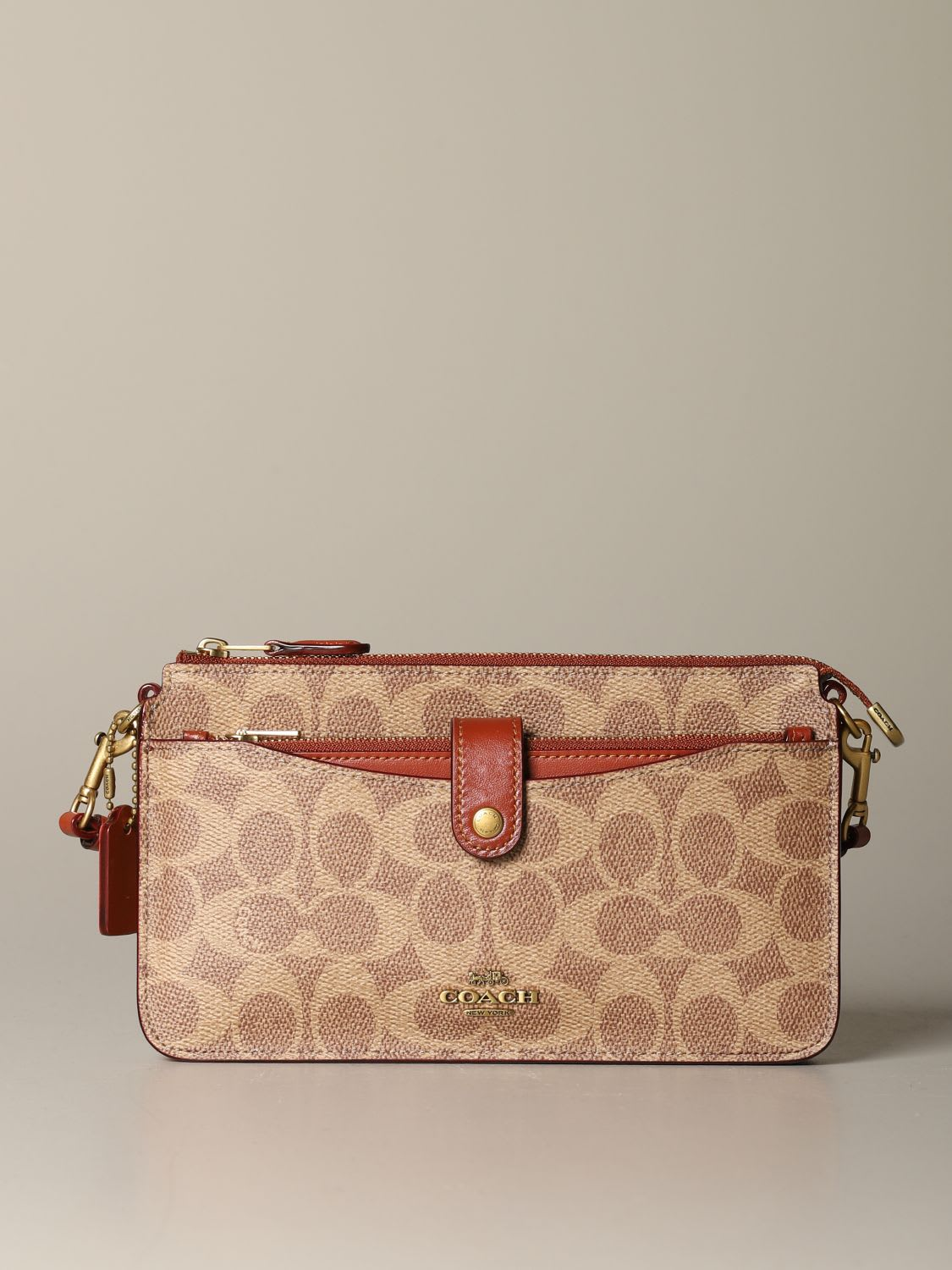 Coach Mini Bag Noa Coach Shoulder Bag In Leather And Coated Canvas With Logo