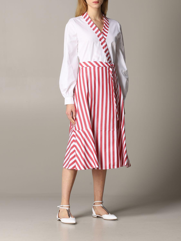 Buy Stella Jean Dress Stella Jean Poplin Dress With Striped Skirt online, shop Stella Jean with free shipping