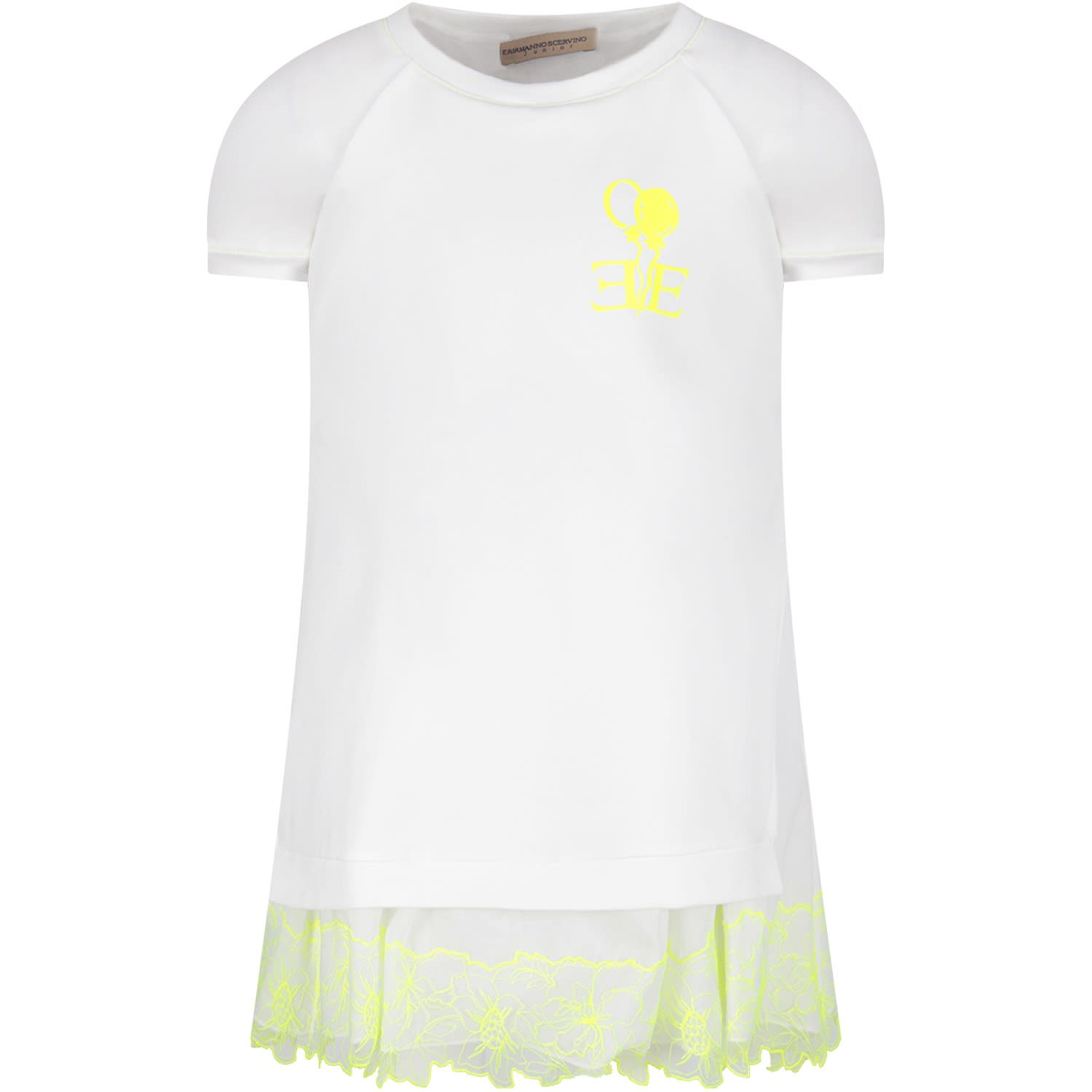 Buy Ermanno Scervino Junior White Girl Dress With Neon Yellow Logo online, shop Ermanno Scervino Junior with free shipping
