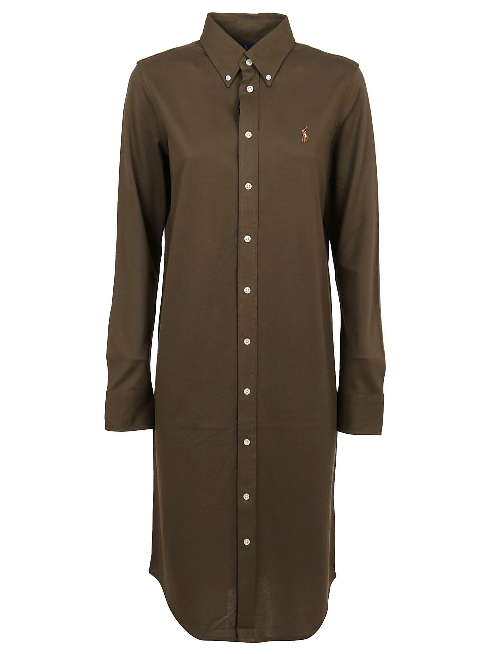 Buy Green Cotton Dress online, shop Ralph Lauren with free shipping
