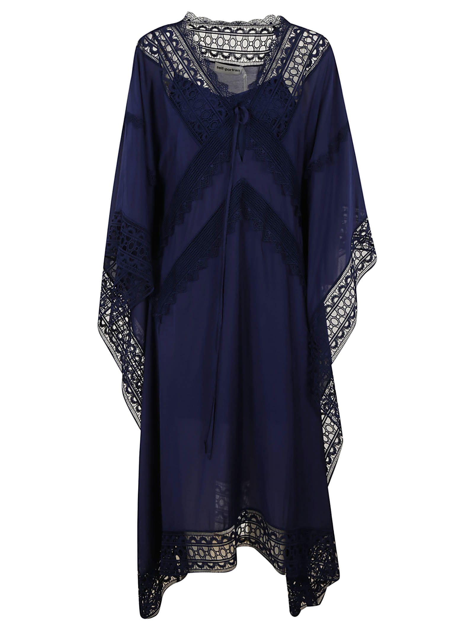 Buy self-portrait Indigo Sheer Kaftan Dress online, shop self-portrait with free shipping