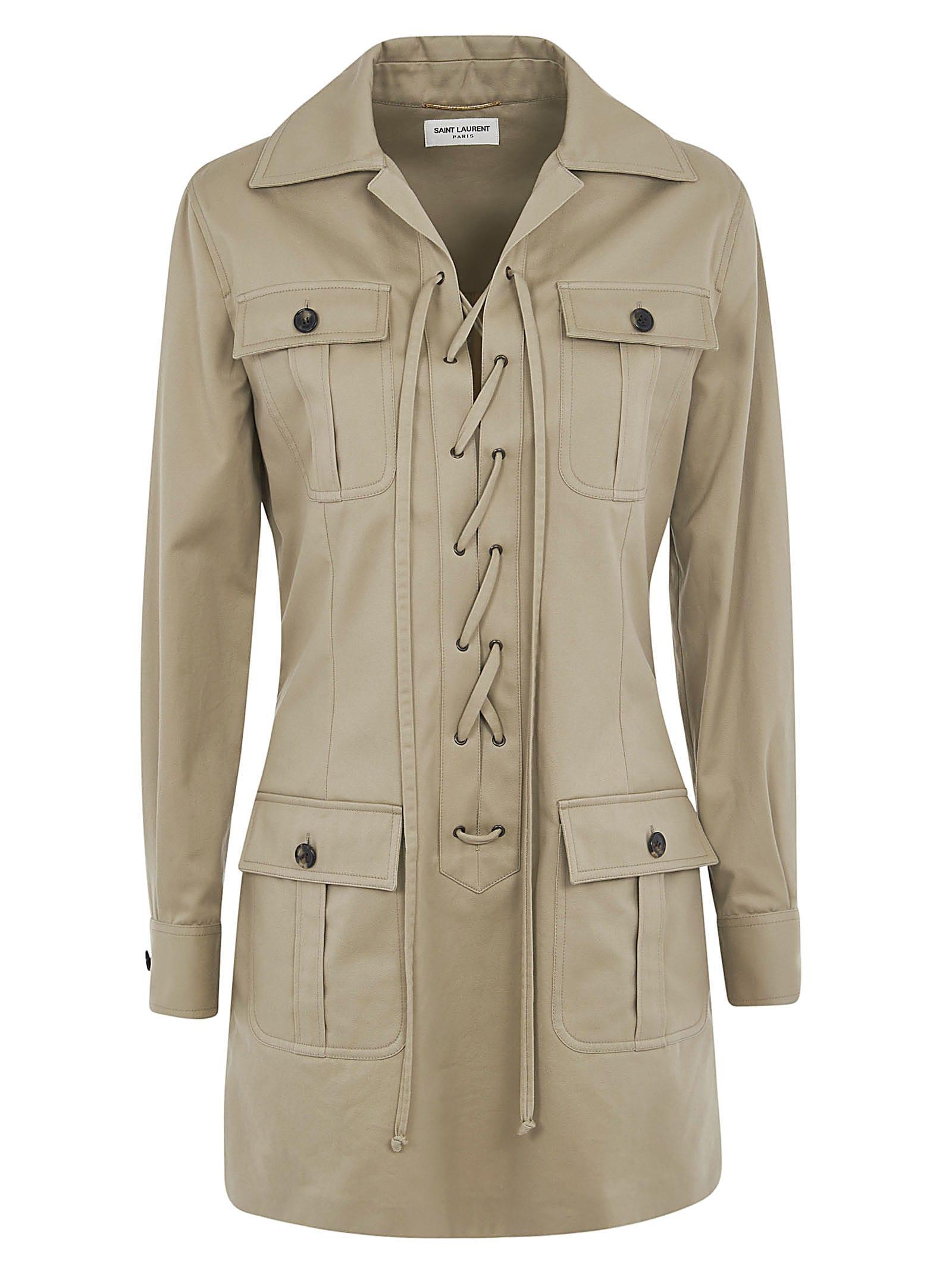 Buy Saint Laurent Multiple Cargo Buttoned Pocket Dress online, shop Saint Laurent with free shipping