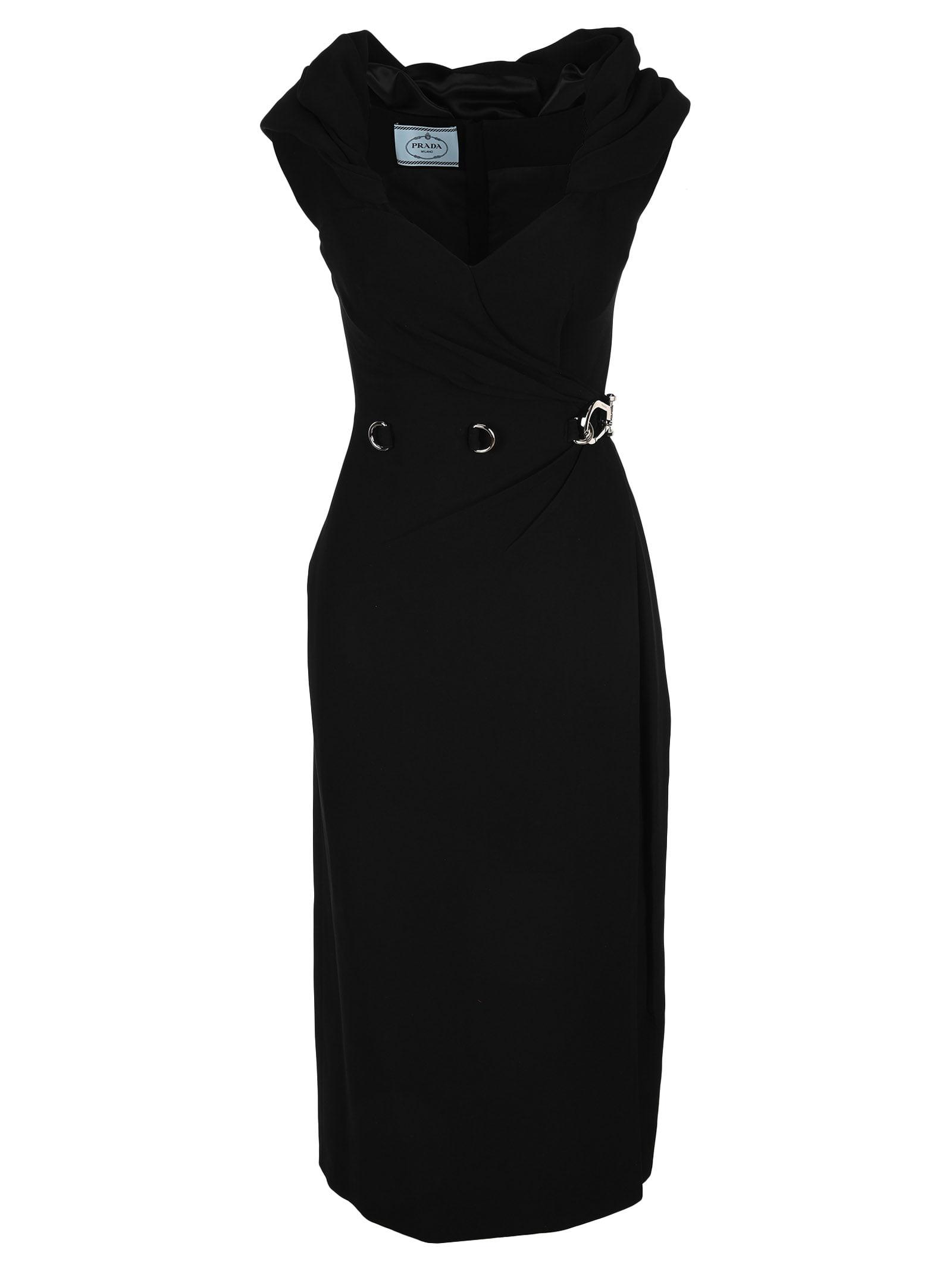 Buy Prada Shawl Neckline Midi Dress online, shop Prada with free shipping