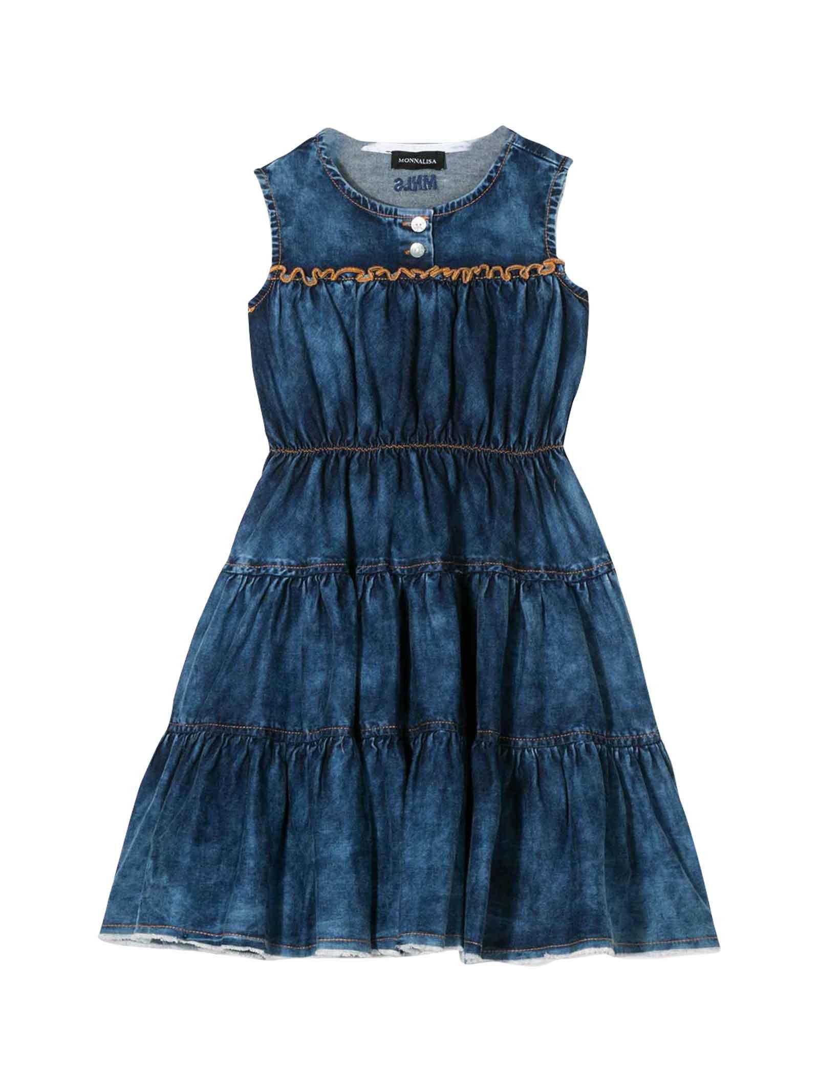 Buy Monnalisa Denim Dress online, shop Monnalisa with free shipping
