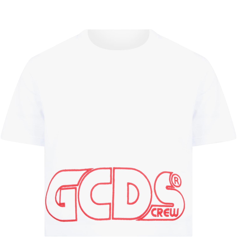 Gcds Mini WHITE T-SHIRT FOR GIRL WITH LOGO