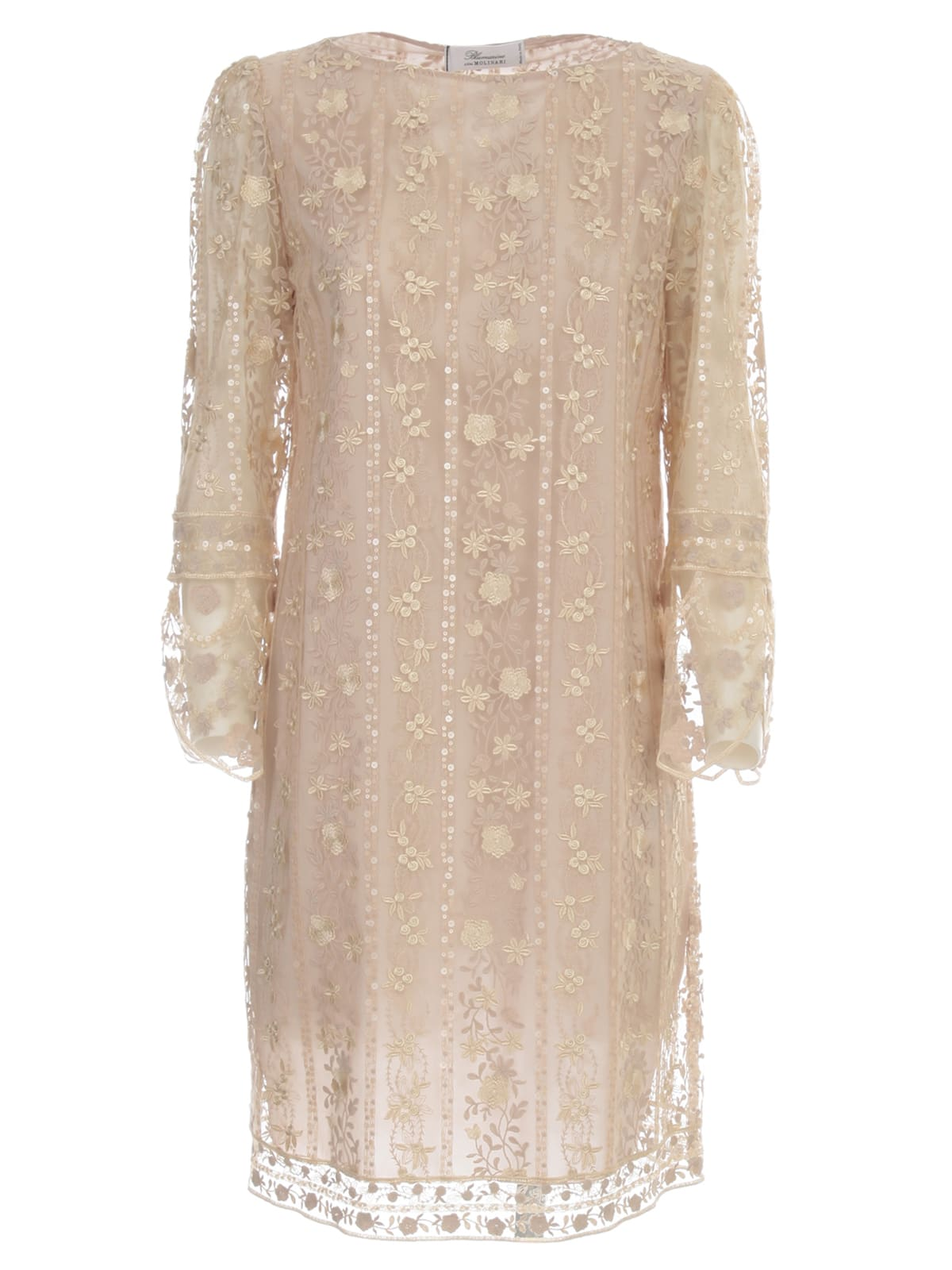Buy Blumarine Straight Dress L/s Crew Neck W/lace online, shop Blumarine with free shipping