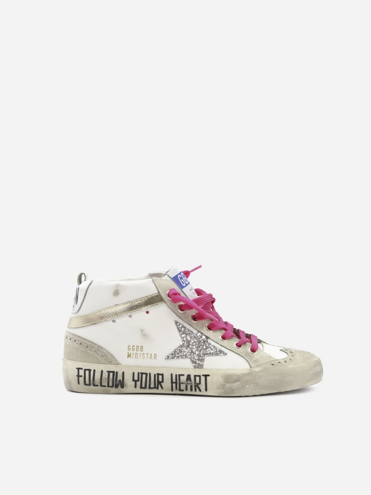 Golden Goose Mid Star Sneakers In Leather With Contrasting Inserts