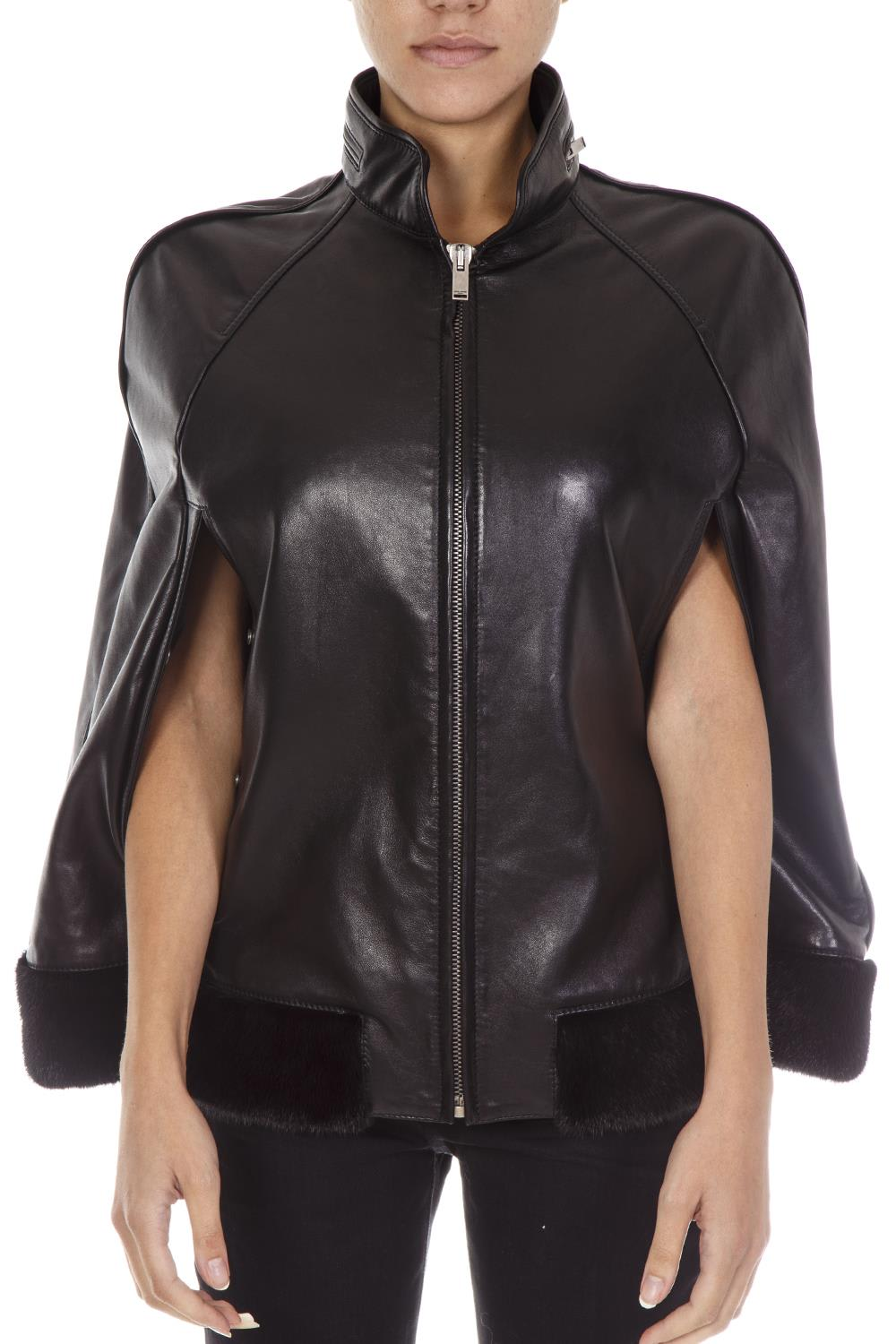 Saint Laurent Black Leather Mantle Jacket