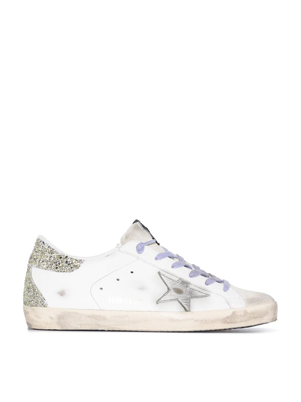 Golden Goose Woman White Super-star Sneakers With Lilac Laces, Silver Star And Gold Glittered Spoiler