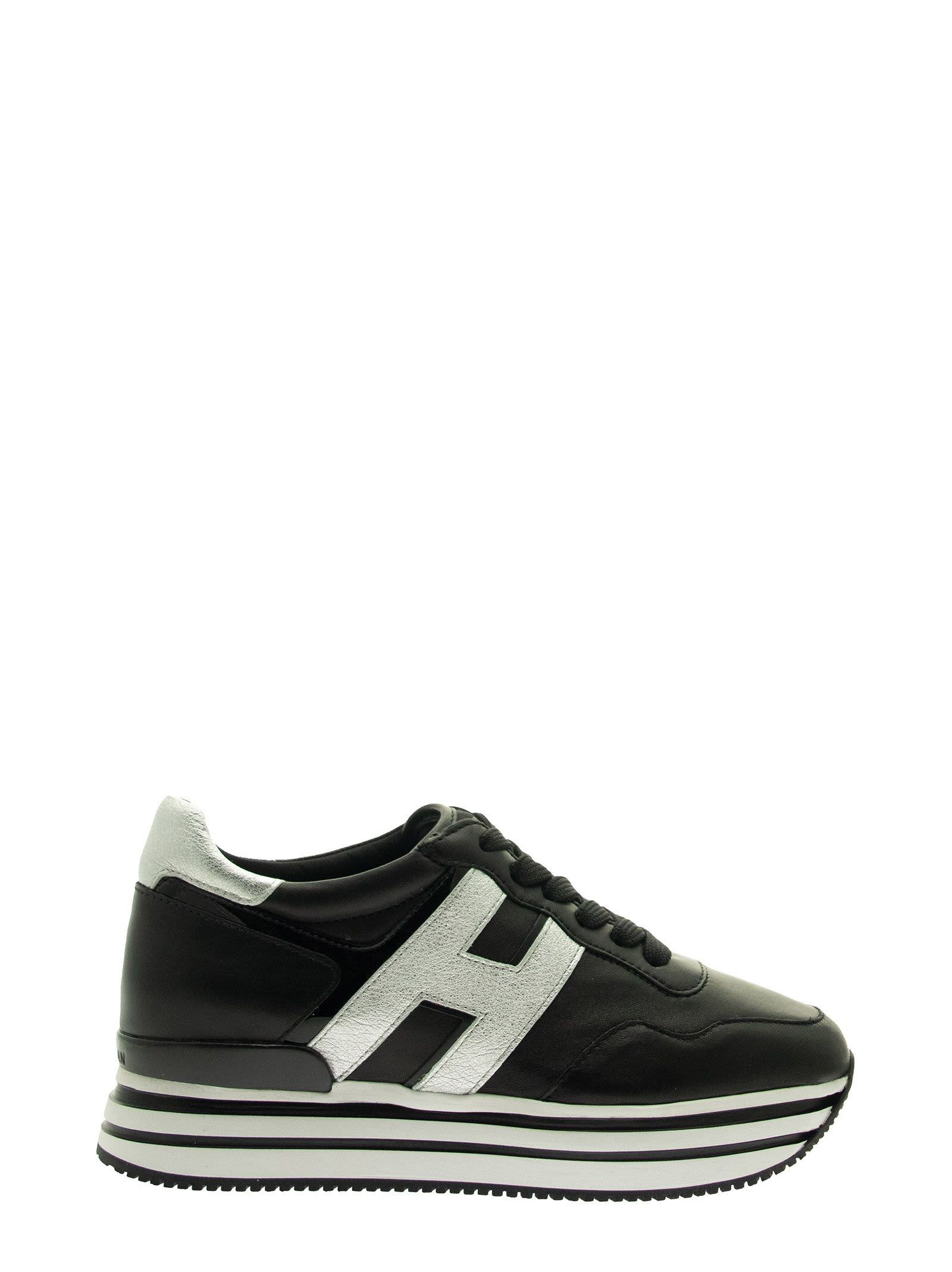 Hogan H483 MIDI H222 BLACK, SILVER SNEAKER