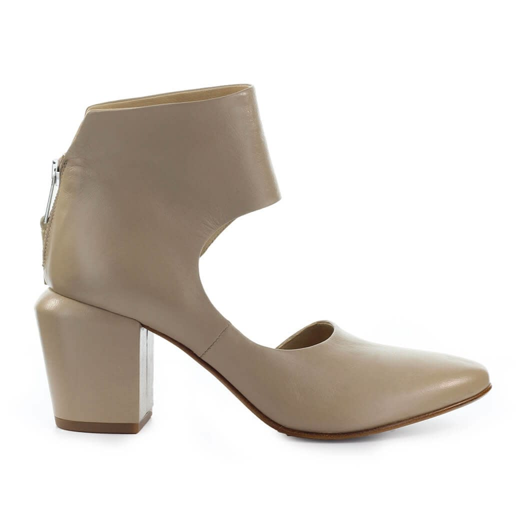 Beige Dorsay Ankle Boot