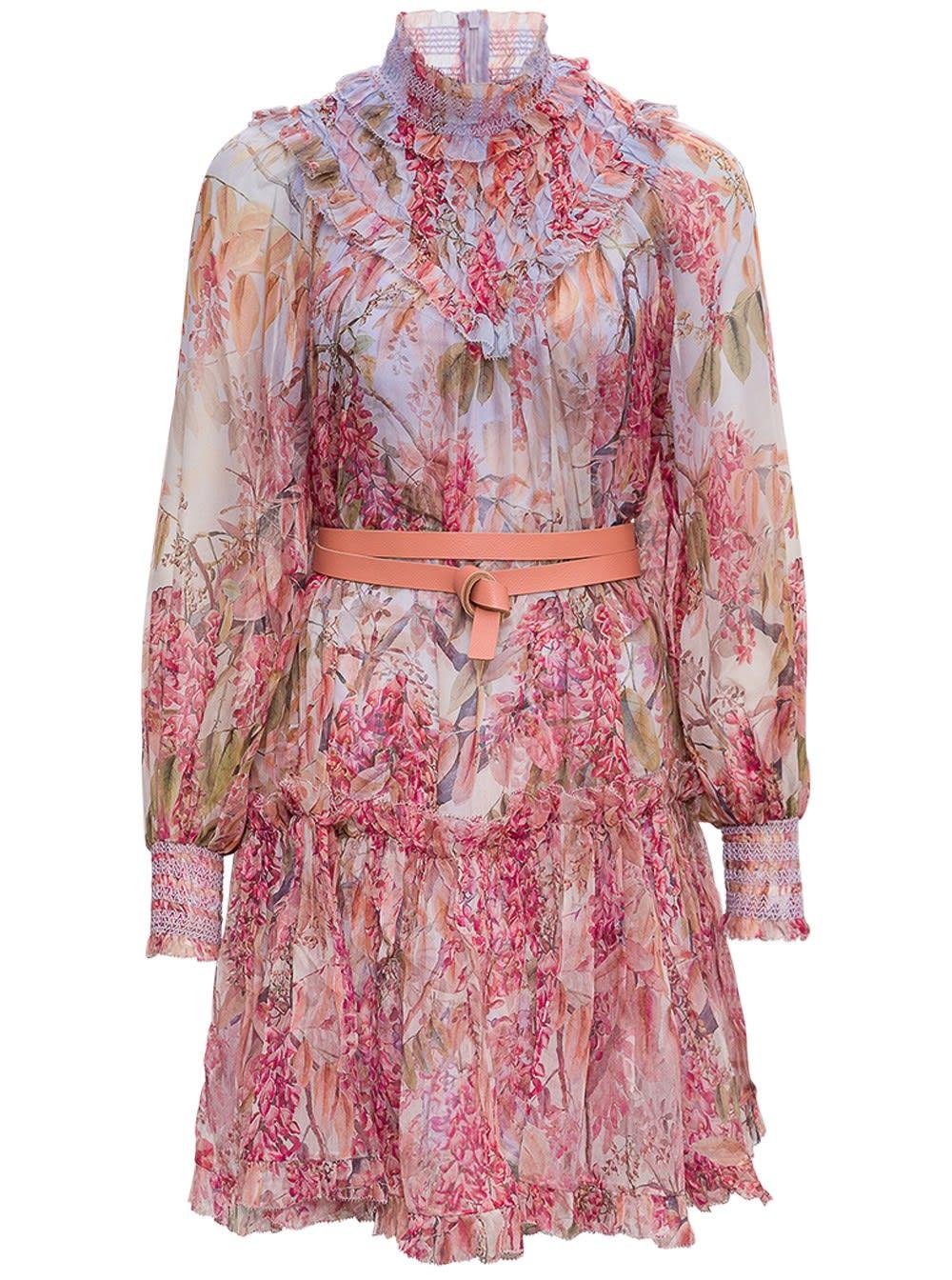 Zimmermann Botanica Smocked Yoke Dress With Belt