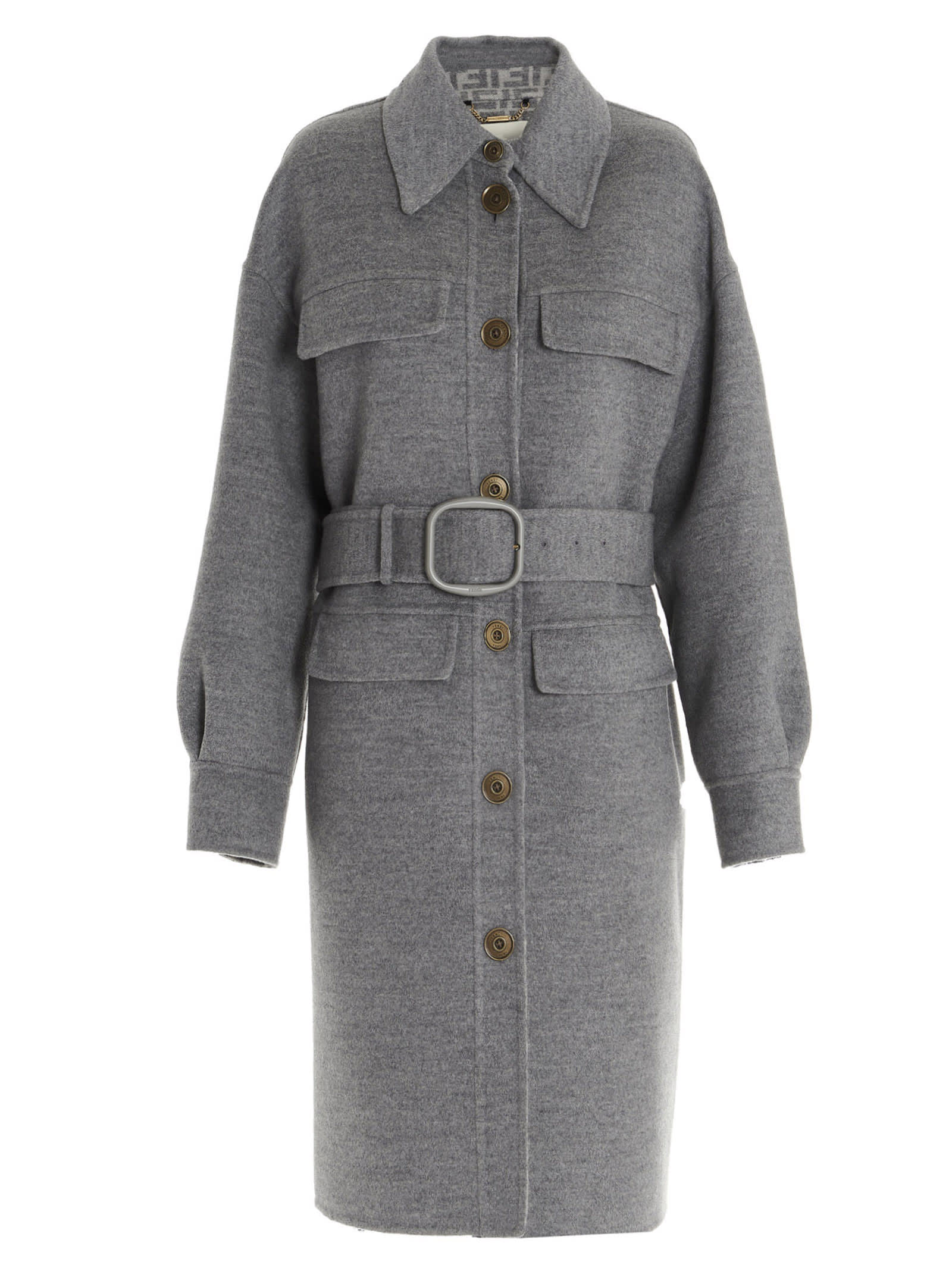 FENDI FF DOUBLE WOOL COAT