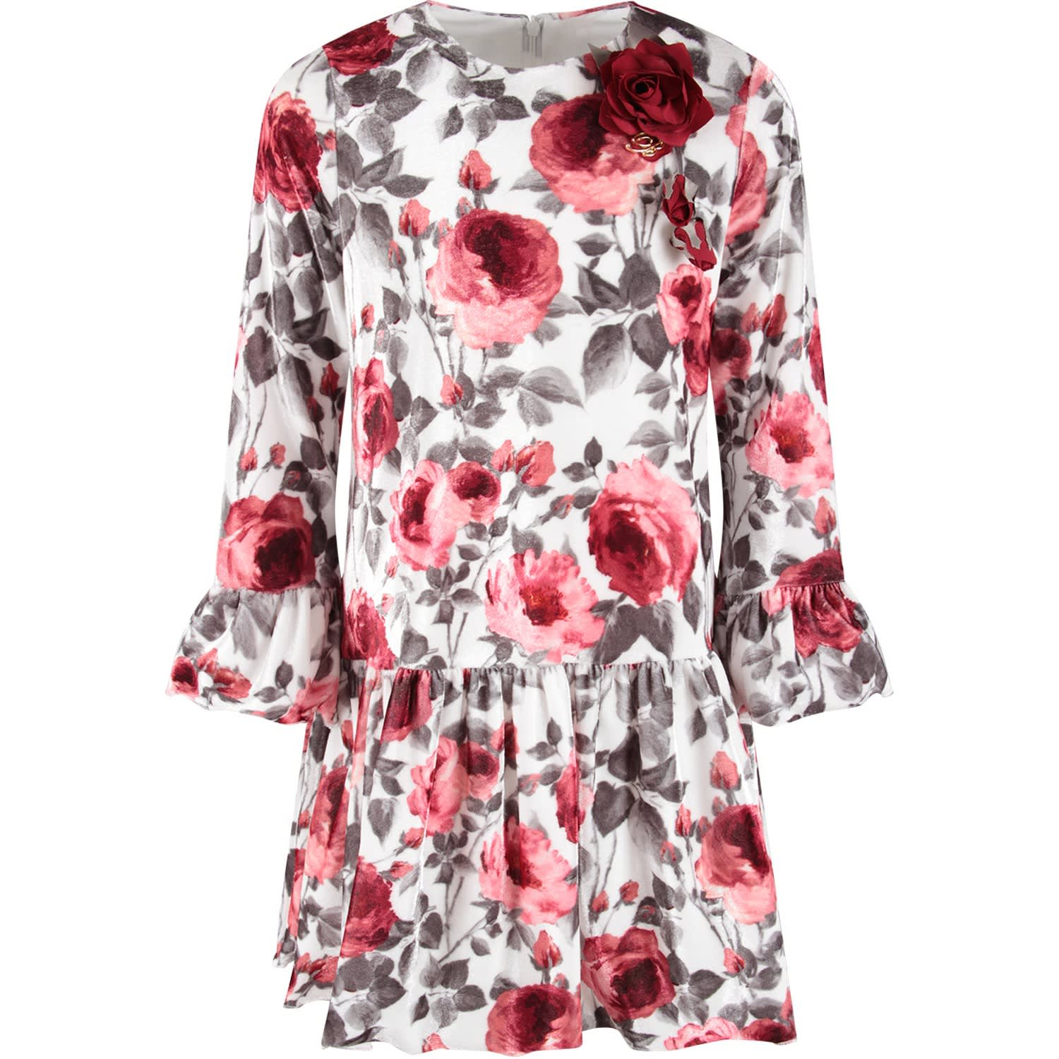 Buy Blumarine White Babygirl Dress With Red Roses online, shop Blumarine with free shipping