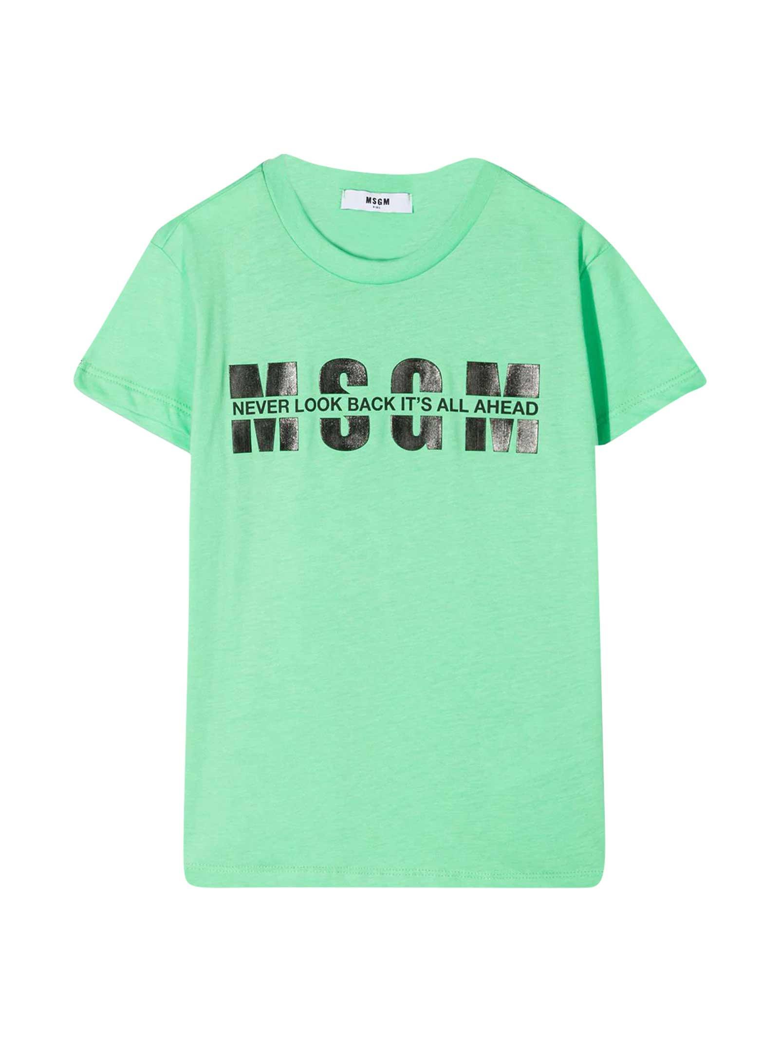 Msgm GREEN TEEN T-SHIRT