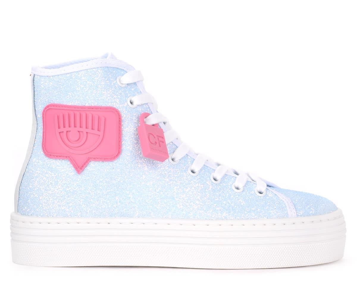 Chiara Ferragni Logomania High-top Sneaker In Blue Glitter
