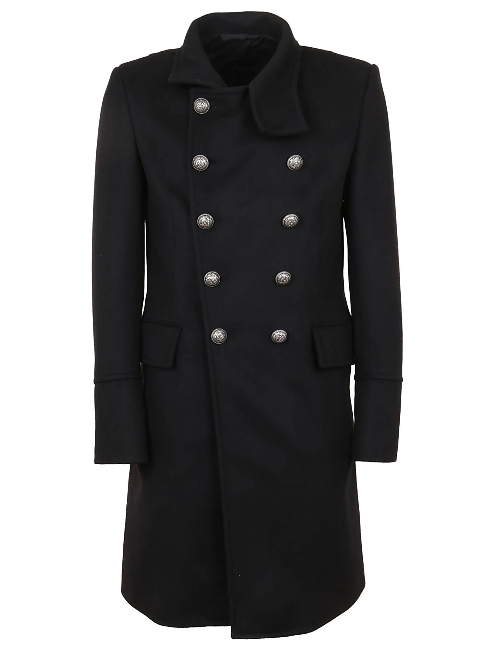 Balmain Cashmere Wool Coat -Black