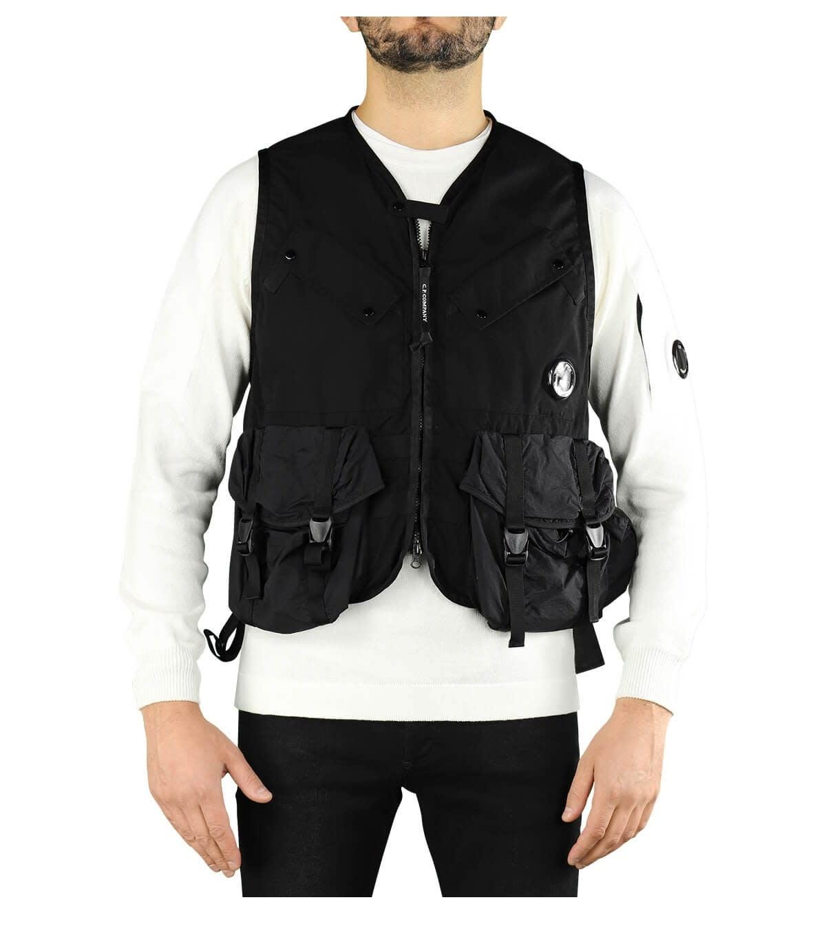 C.p. Company Vests C.P. COMPANY TAYLON P BLACK VEST