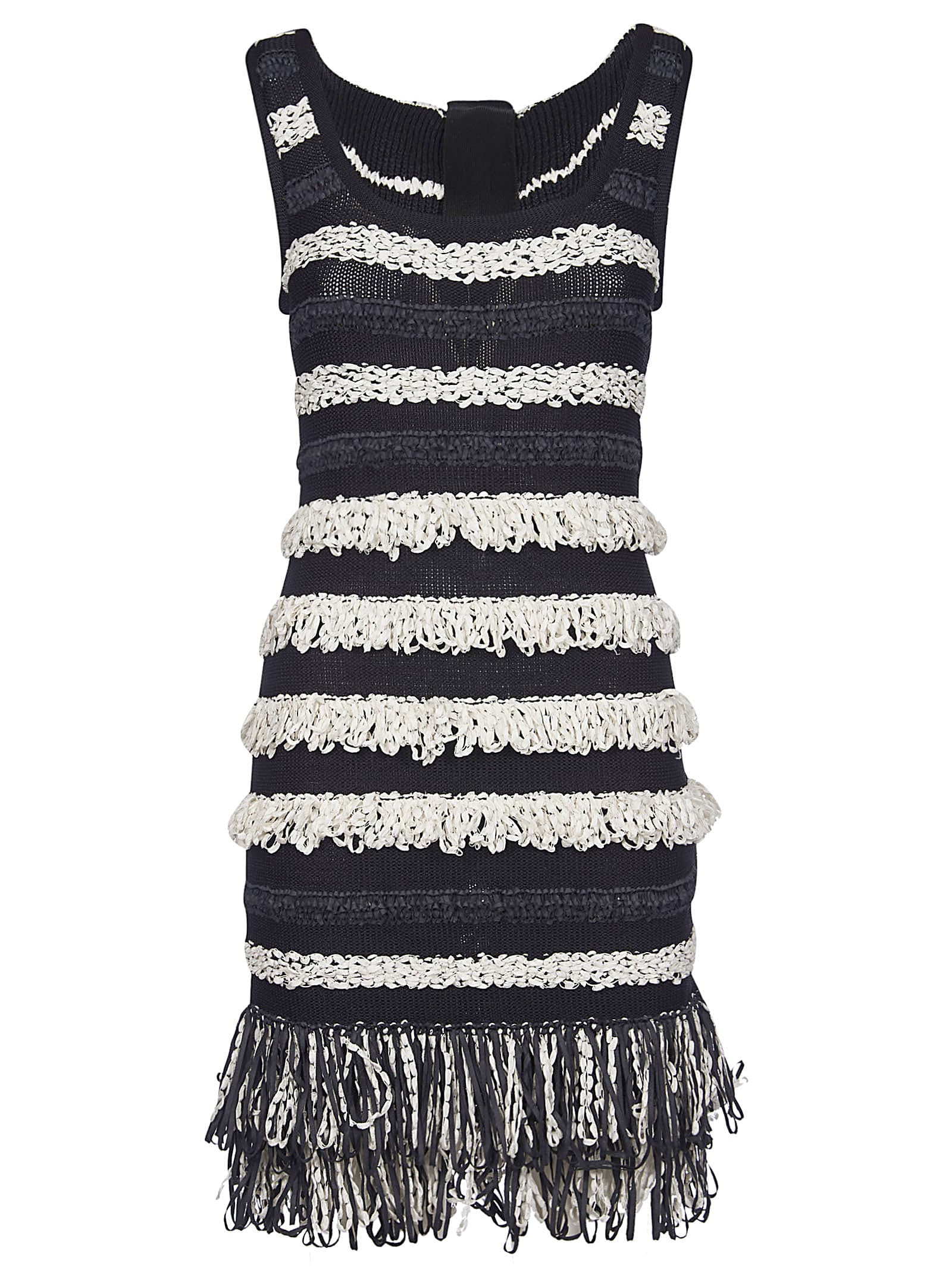 Buy Balmain Fringed Detail Knitted Dress online, shop Balmain with free shipping